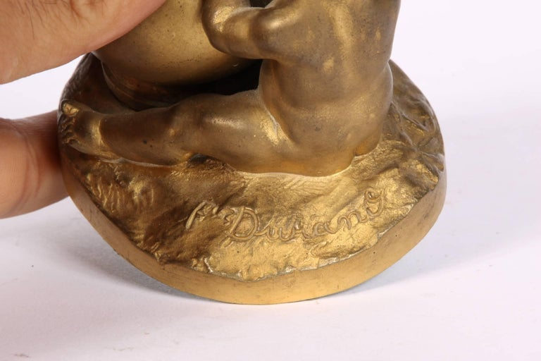 Antique French Bronze Figural Bud Vase by F. Durand For Sale 1