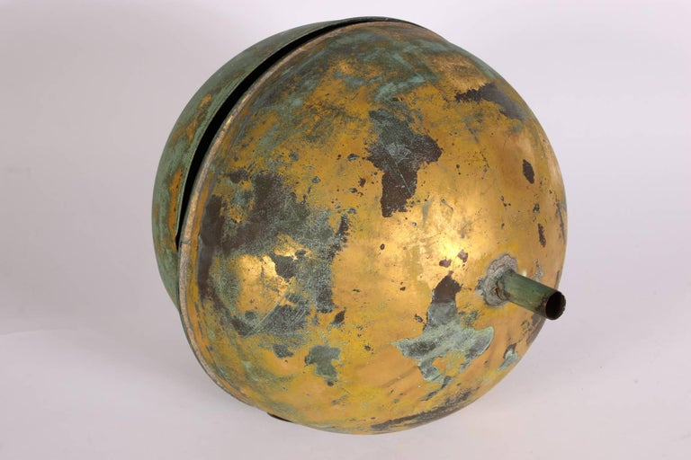 Industrial Gilt Copper Globe Form Architectural Finial For Sale