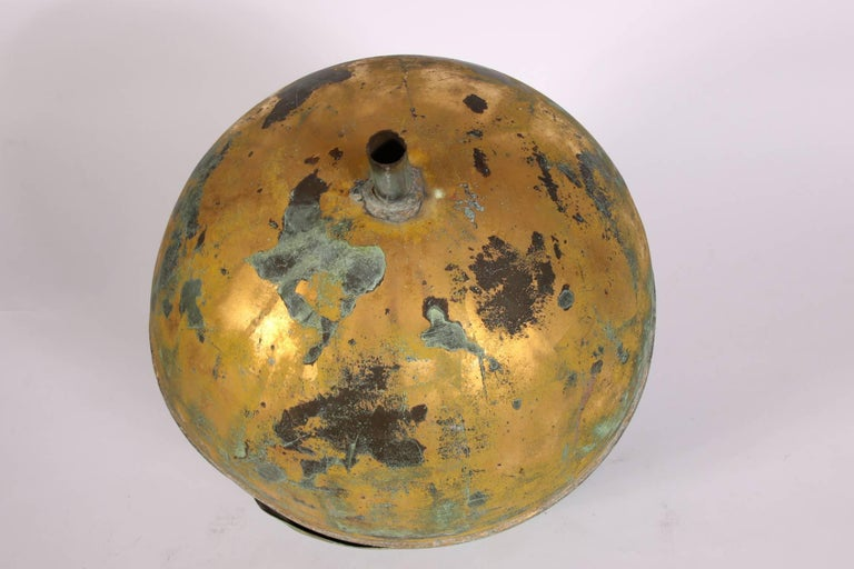 Gilt Copper Globe Form Architectural Finial In Distressed Condition For Sale In Bridgeport, CT
