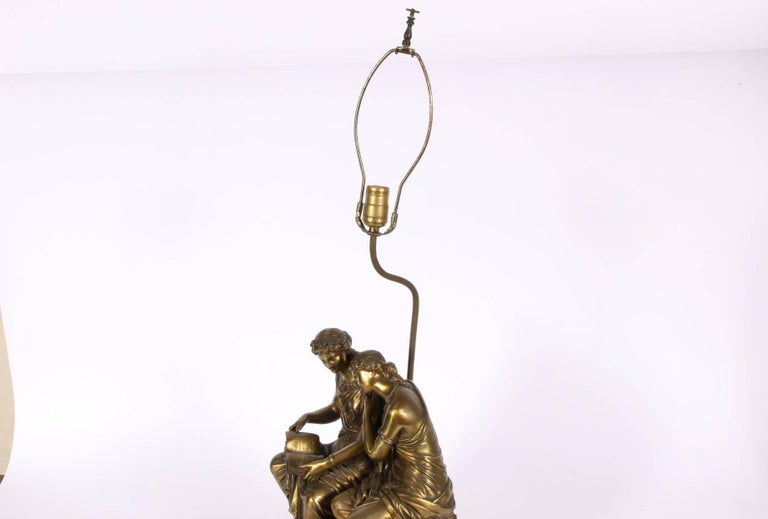 Neoclassical Bronze Figural Group Mounted As A Lamp For