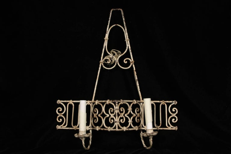 Rustic Pair of Hand-Wrought Iron Sconces For Sale