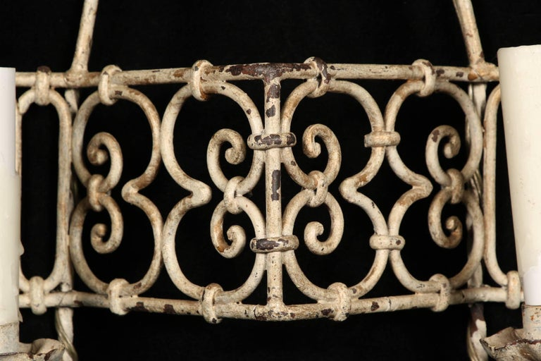 Painted Pair of Hand-Wrought Iron Sconces For Sale