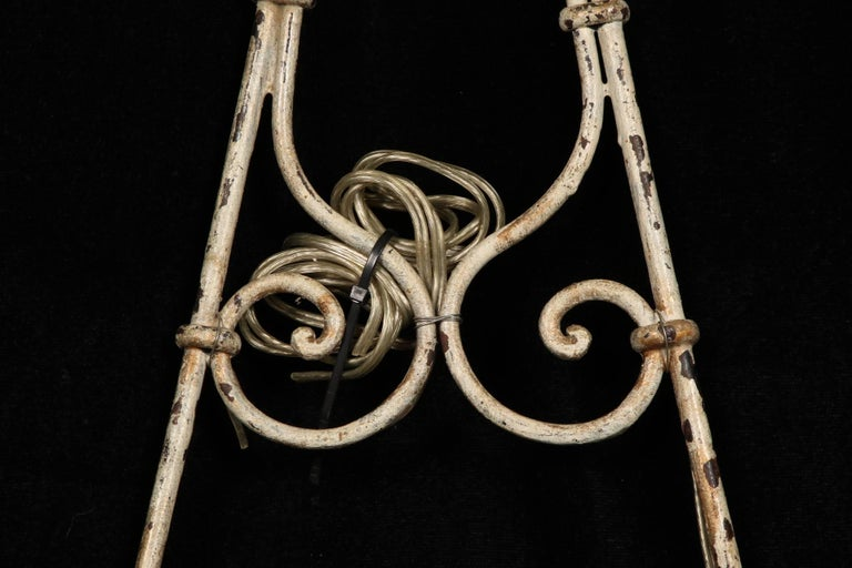 Pair of Hand-Wrought Iron Sconces For Sale 4
