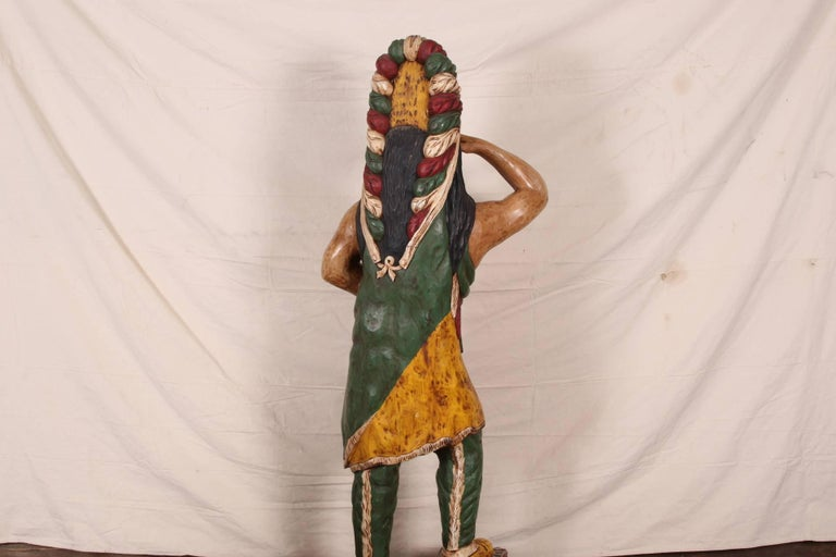 Carved and Polychromed Wood Cigar Store Indian For Sale 1