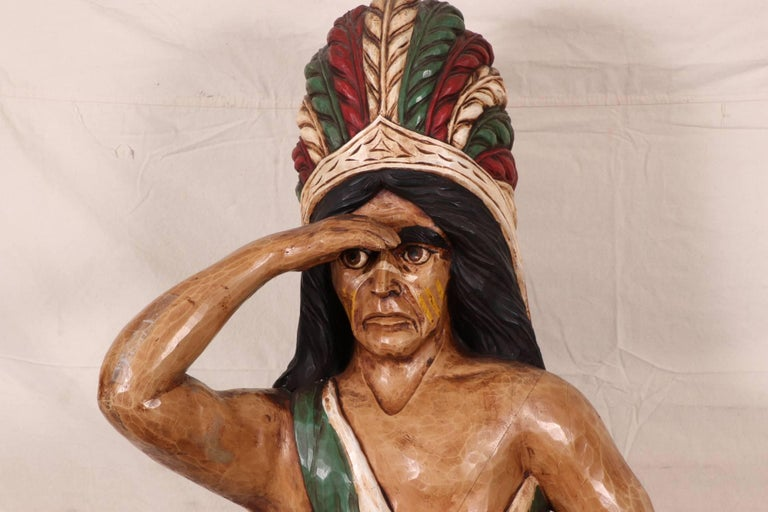 Carved and Polychromed Wood Cigar Store Indian For Sale 2