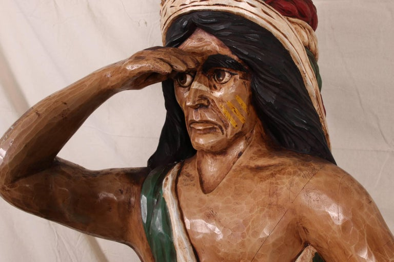 American Carved and Polychromed Wood Cigar Store Indian For Sale