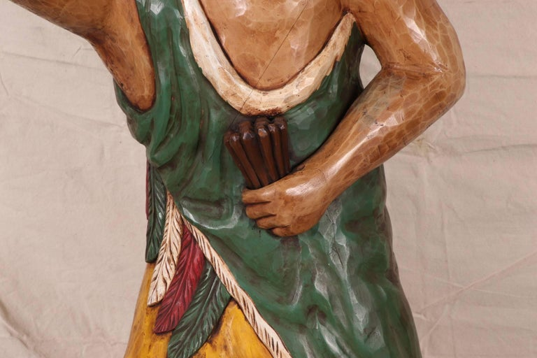 Primitive Carved and Polychromed Wood Cigar Store Indian For Sale