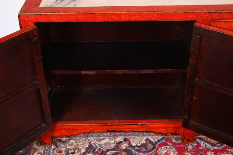 Red Lacquered Marble-Top Chinese Storage Cabinet 3