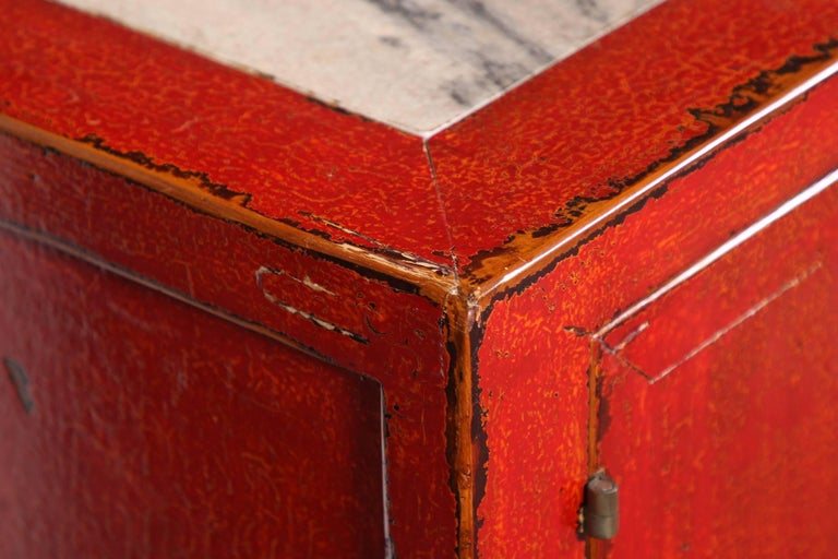 Red Lacquered Marble-Top Chinese Storage Cabinet 4