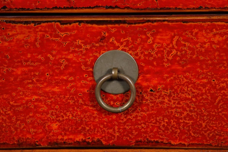 Chinese Export Red Lacquered Marble-Top Chinese Storage Cabinet