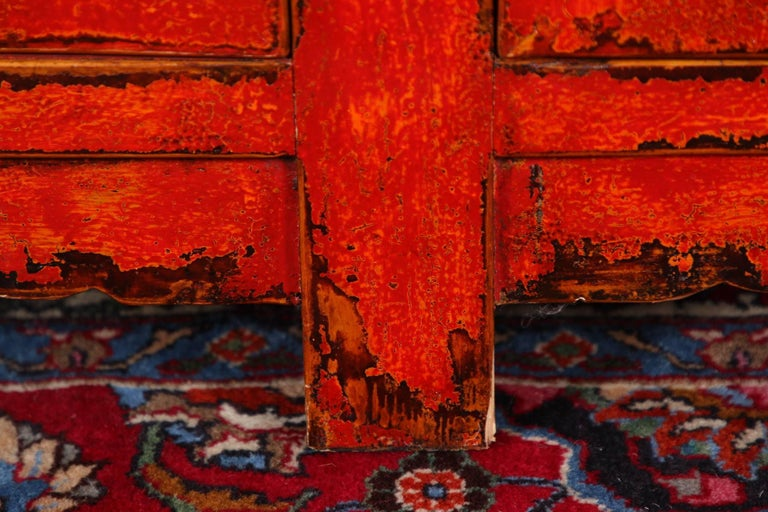 Red Lacquered Marble-Top Chinese Storage Cabinet 5
