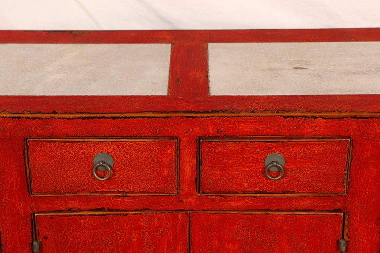 Red Lacquered Marble-Top Chinese Storage Cabinet 1