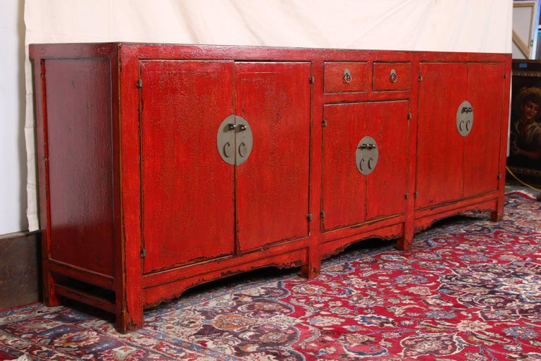Red Lacquered Marble-Top Chinese Storage Cabinet 2