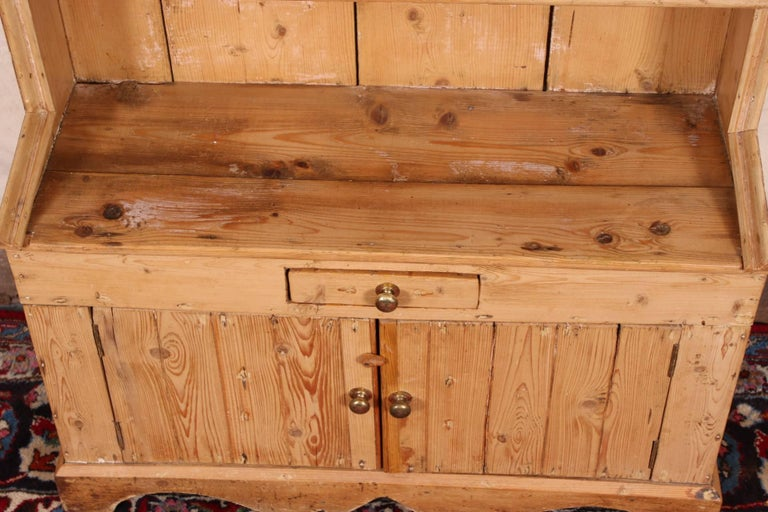 Rare Child's Size Antique Carved Pine Stepback Cupboard For Sale 3