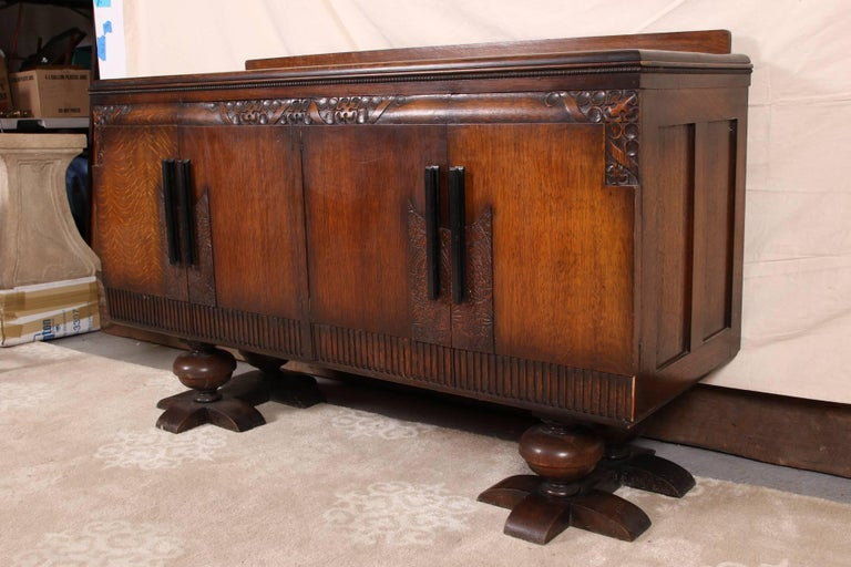 French Art Deco Carved Oak Cabinet For Sale 1