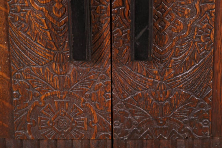 French Art Deco Carved Oak Cabinet For Sale 5