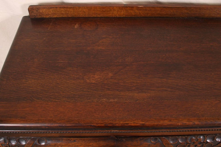 French Art Deco Carved Oak Cabinet For Sale 4