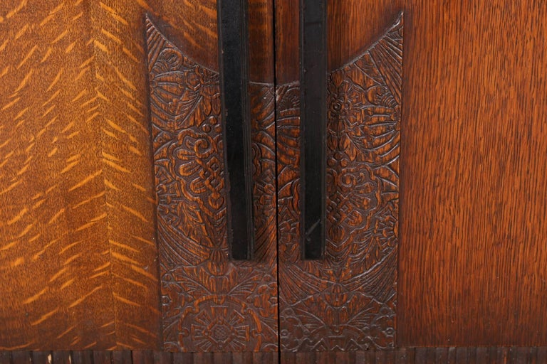 French Art Deco Carved Oak Cabinet For Sale 3