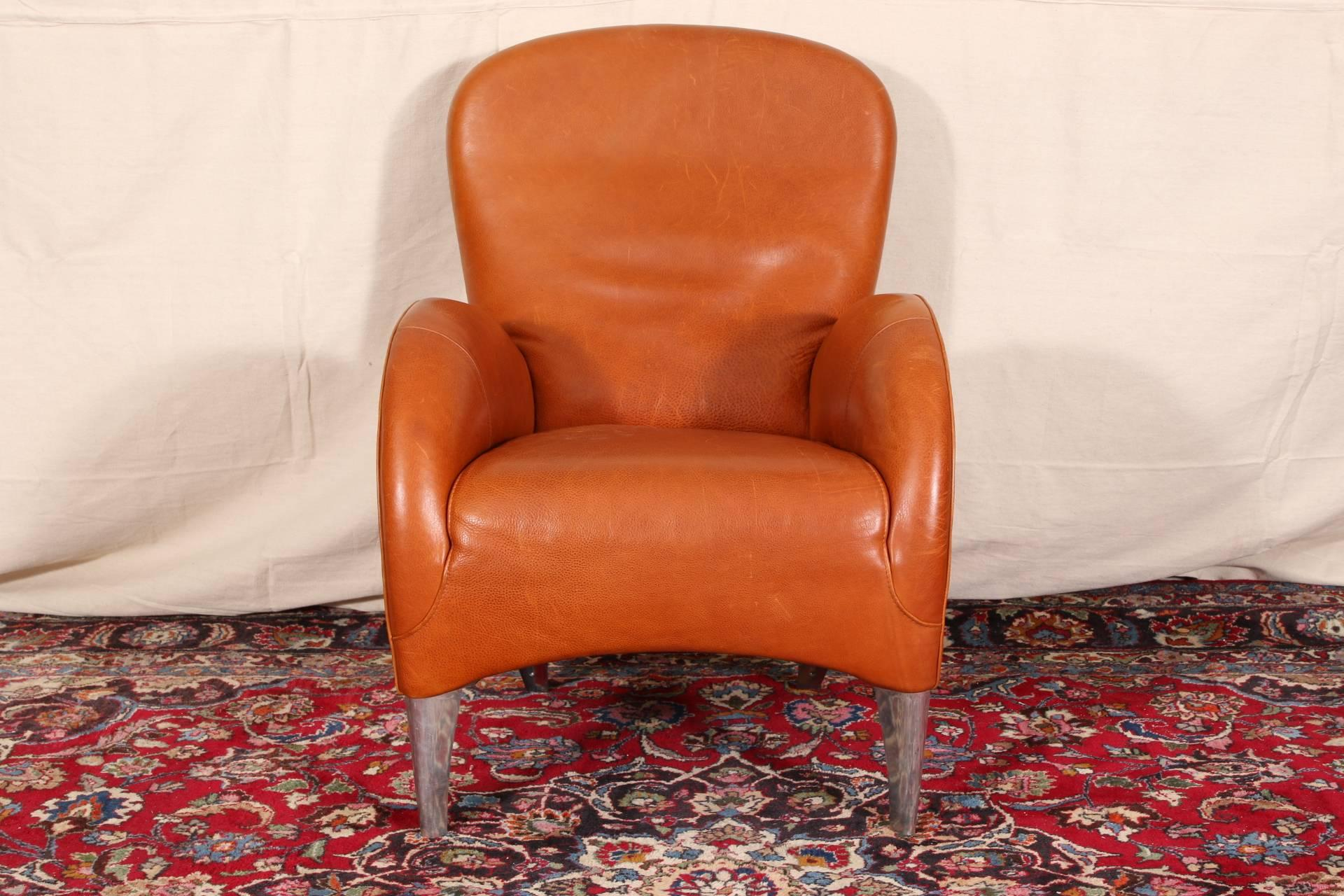 Vintage Molinari Tobacco Leather Armchair, Arched Arms And Curved Lower  Frames Raised On Chrome Shaped