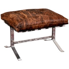 Modern Hide-Covered and Chrome Footstool
