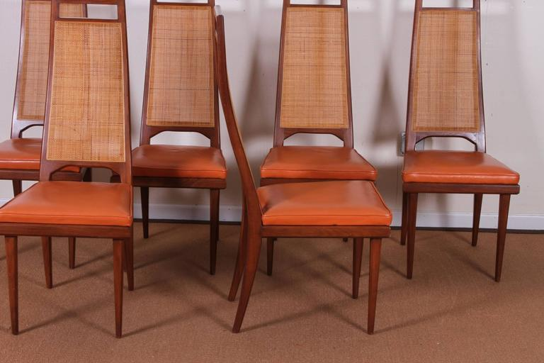 Set of Six Mid-Century Cane-Back Dining Chairs by Urban ...