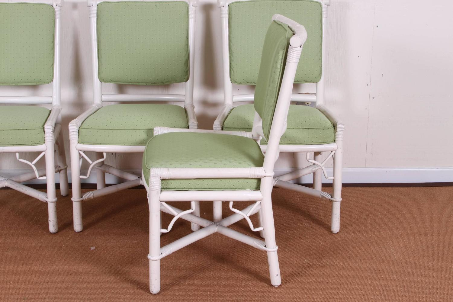 Set Of Eight Mid Century Painted Rattan Chairs At 1stdibs