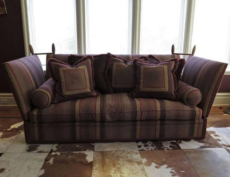 Mid Century Modern George Smith Striped Knole Sofa In Burgundy Stripe For  Sale