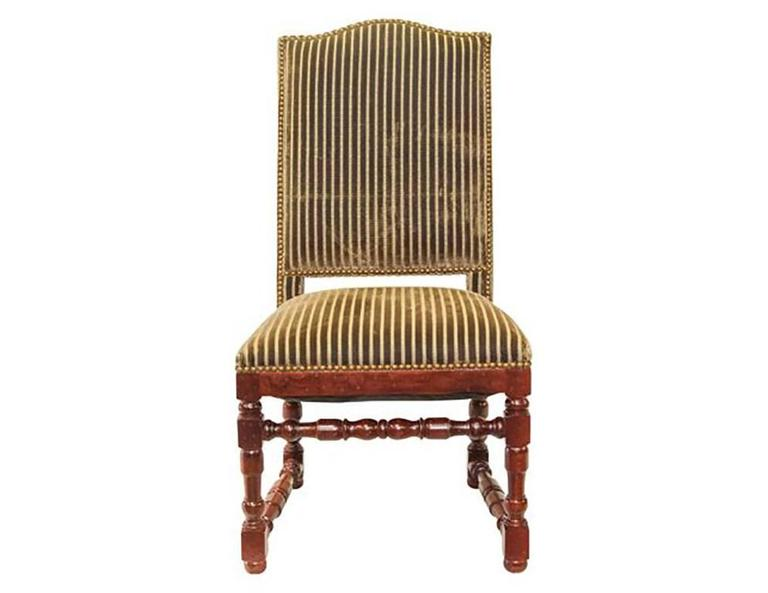 Set Of 14 Striped Velvet Upholstery Dining Room Chairs At 1stdibs
