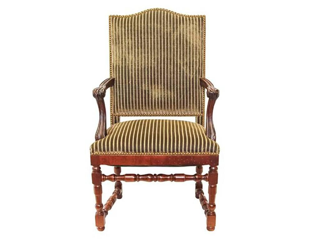 Set of 14 striped velvet upholstery dining room chairs for for Striped upholstered dining chairs