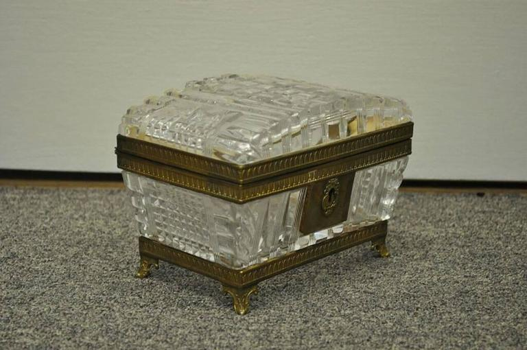 19th Century Baccarat Crystal And Ormolu Box With Hinged