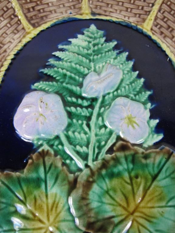 Aesthetic Movement English Majolica Fern and Floral, Wicker Basket Form Cheese Board Platter For Sale
