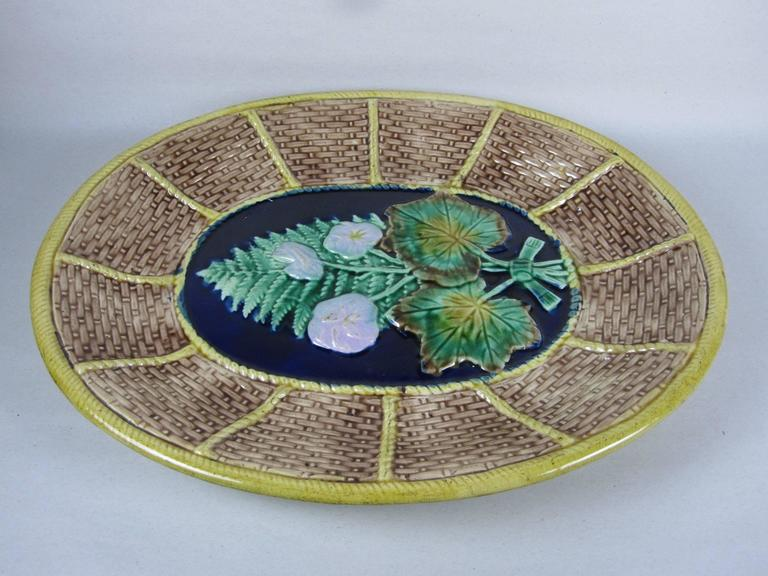 Glazed English Majolica Fern and Floral, Wicker Basket Form Cheese Board Platter For Sale