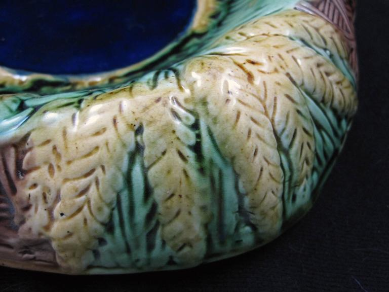19th Century English Majolica Wheat Motif Cobalt Blue Rolled Rim Bread Tray In Good Condition For Sale In Philadelphia, PA