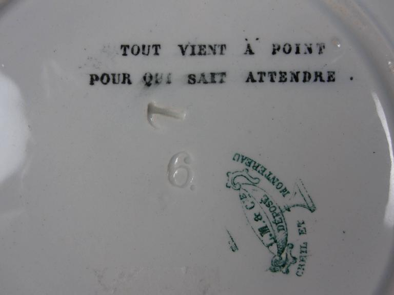 19th C. French Creil et Montereau Transferware Rebus Puzzle Dessert Plates, S/6 For Sale 1