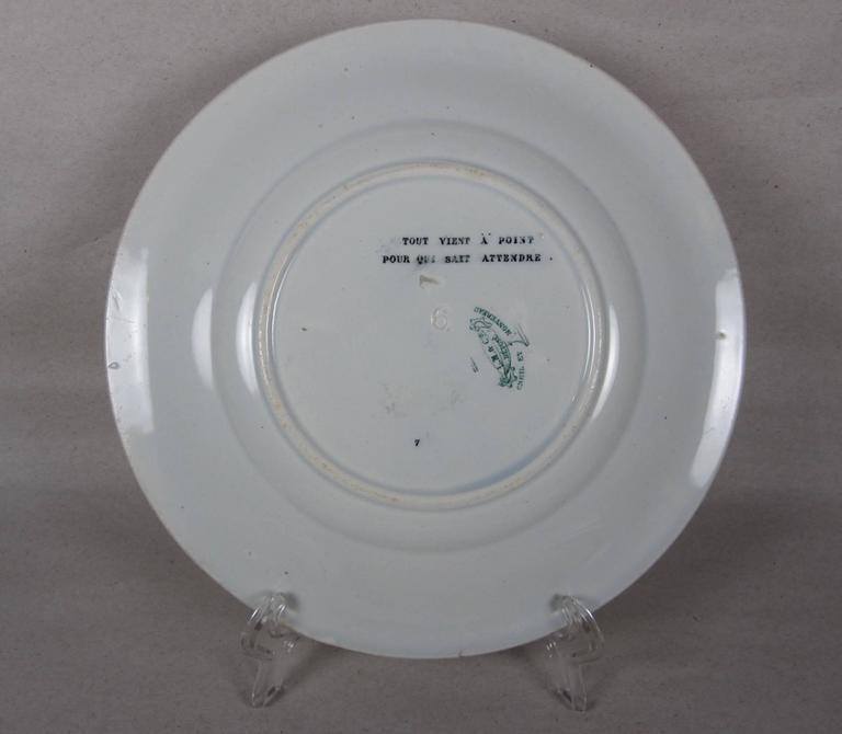 19th C. French Creil et Montereau Transferware Rebus Puzzle Dessert Plates, S/6 For Sale 2
