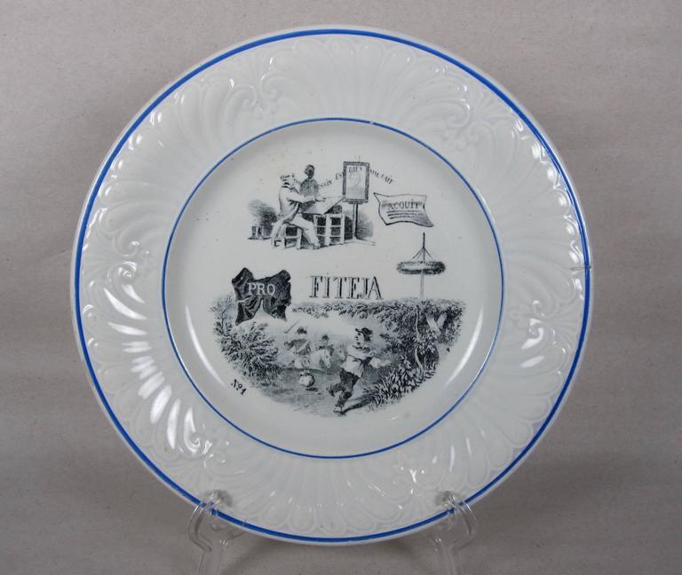 Earthenware 19th C. French Creil et Montereau Transferware Rebus Puzzle Dessert Plates, S/6 For Sale