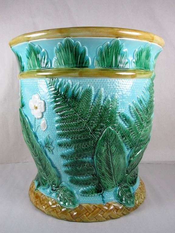 High Victorian  John Adams & Co Fern Leaf & Floral Turquoise English Majolica Jardinière c.1871 For Sale