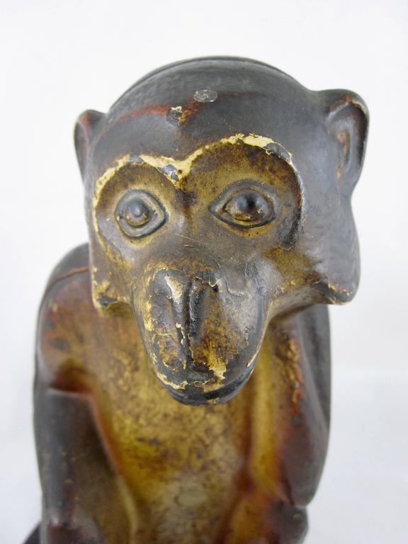 Rare Hubley Cast Iron Full Figure Seated Monkey Doorstop