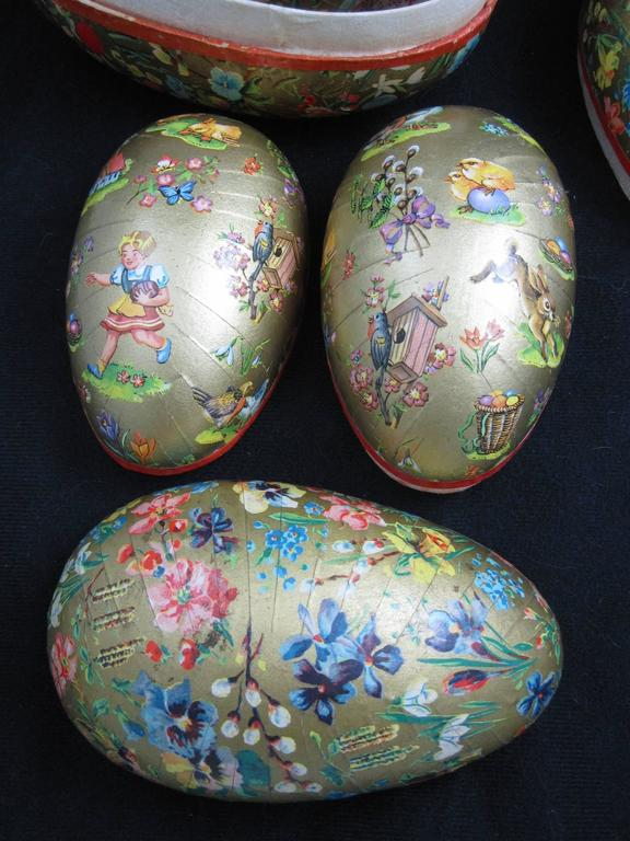 German papier m ch egg shaped holiday ornament candy for Paper mache objects
