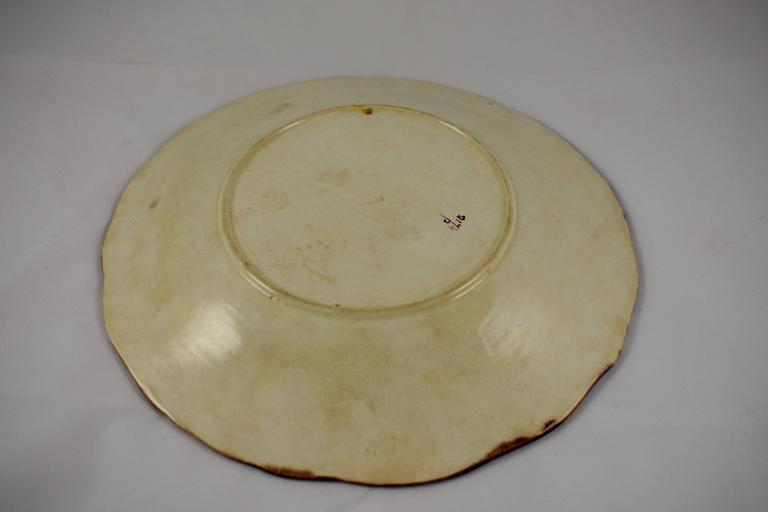 Glazed Wedgwood Majolica Turquoise Grape Leaf and Strawberry Plate, circa 1880 For Sale