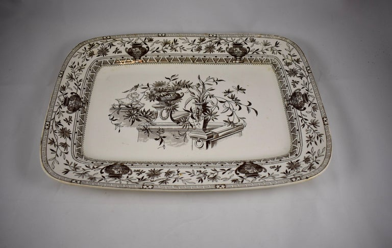 Glazed 19th Century Staffordshire Aesthetic Transferware Platters 'Honfleur' Set of Two For Sale