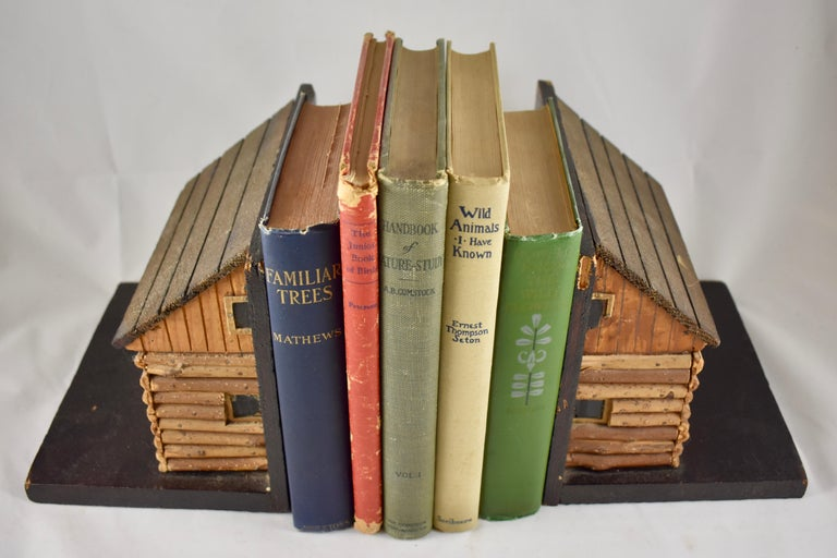 Adirondack 1930s Folk Art Log Cabin Bookends, a Pair For Sale