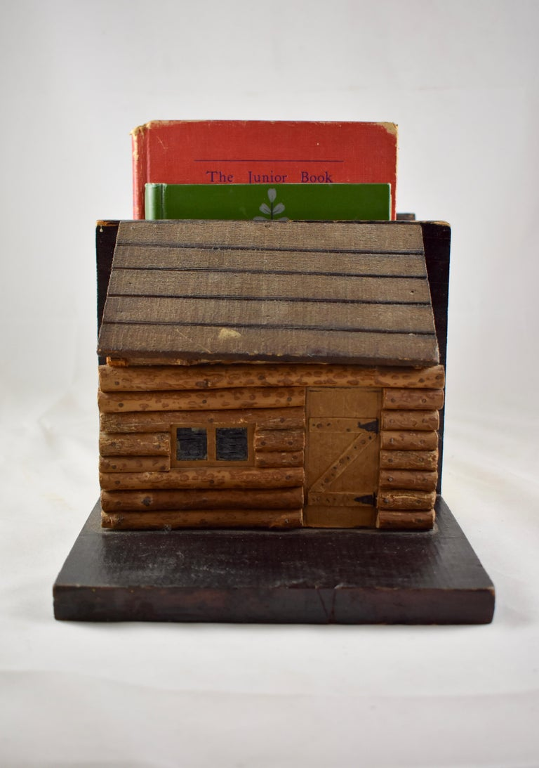 American 1930s Folk Art Log Cabin Bookends, a Pair For Sale