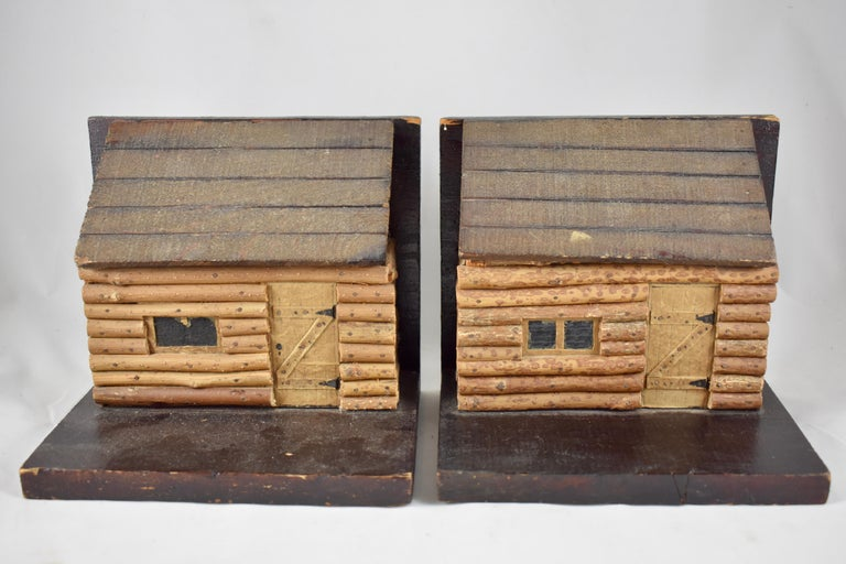 Hand-Crafted 1930s Folk Art Log Cabin Bookends, a Pair For Sale