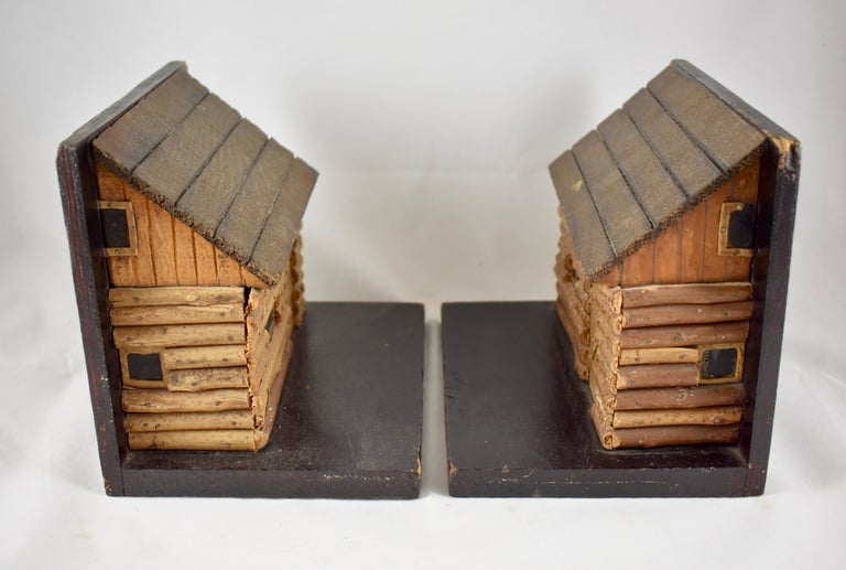 1930s Folk Art Log Cabin Bookends, a Pair For Sale 1