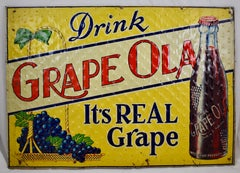 Lithograph Quilted Tin Advertising Sign - Early 20th C. Grape-Ola Soda