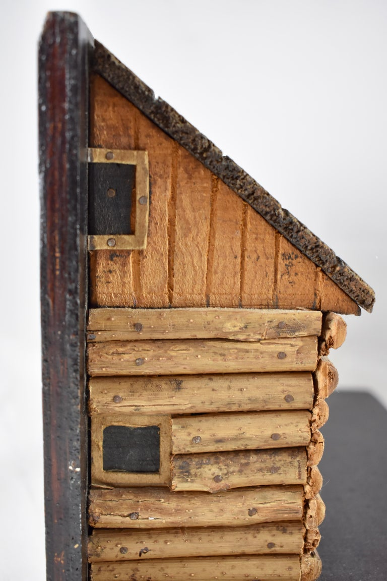 Reclaimed Wood 1930s Folk Art Log Cabin Bookends, a Pair For Sale