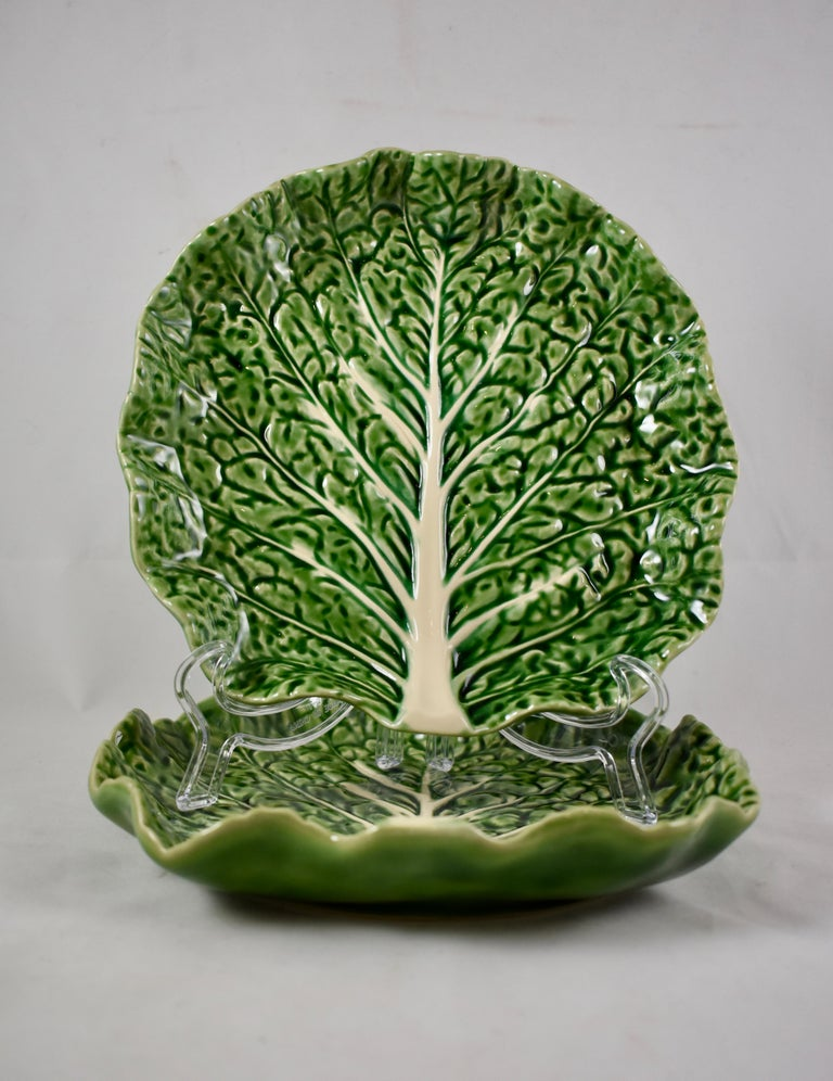 Bordallo Pinheiro Portuguese Majolica Green Cabbage Plates Set Of Two In Excellent Condition For