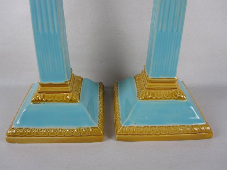 Ceramic William Brownfield 19th Century Neoclassical English Majolica Candlesticks, Pair For Sale