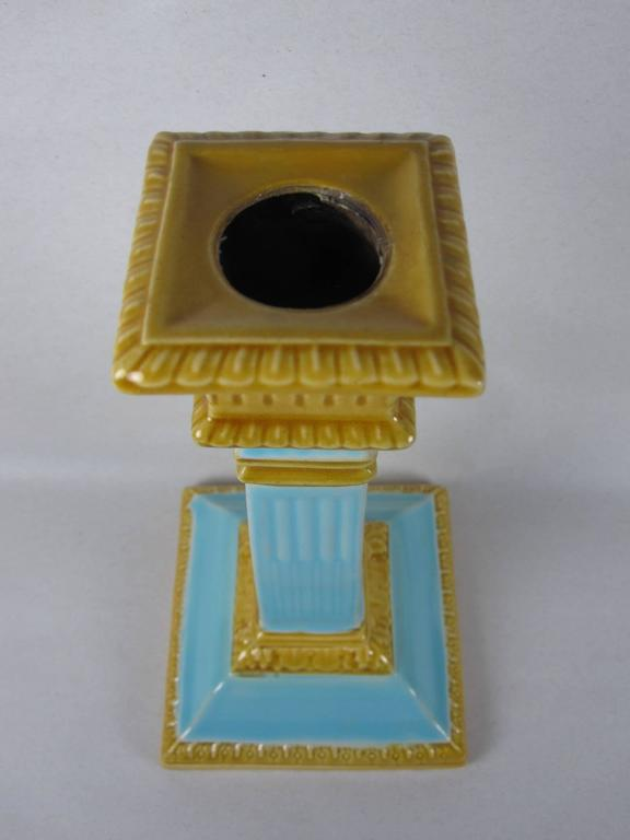 Glazed William Brownfield 19th Century Neoclassical English Majolica Candlesticks, Pair For Sale